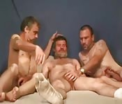 Three gents become quite comfortable with each other