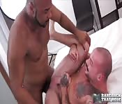 Bearded black dude fucking a tattooed white guy