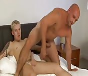 Sexy bald straight man gets fucked