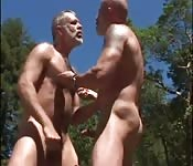 Sexy hunks fucks outdoor