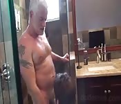 He gets his cock sucked by his son