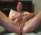 Horny daddy fingering and wanking himself on cam