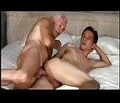 Horny grey-haired man fucking his young lover