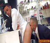 Ass eating and butt ramming for two businessmen