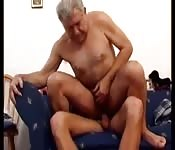 Salacious old man riding his younger lover hard