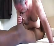 Daddy bear fucked by a big black cock