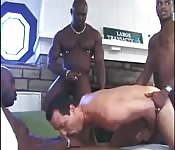 Tanned older dude enjoying an interracial orgy