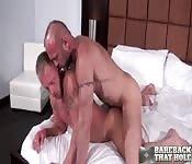 Tätowierter reifer Mann macht mit seinem sexy Freund Liebe
