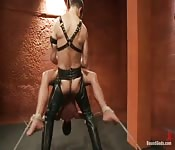 Tied up and fucked by a leather stud