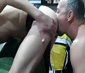 Dirty grey-haired dude tongue fucking his lover