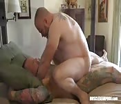 Big tattooed guys have hot threesome