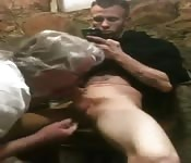 Mature guy  blowing young cock good.