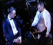 Stunning suited stud having threeway fun
