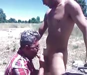 Sensual stud getting sucked by a dirty old man
