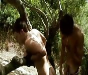 Hard anal fuck in the woods.