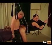 Tied-up mature sex slave enjoying an ass fuck