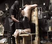 Bound chubby slave
