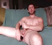 Using a huge dildo inside his tight ass