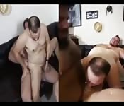 Four chubby daddies in afternoon orgy