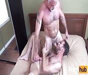 Dirty old man face fucking his younger lover