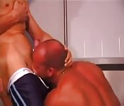 Hot tanned gay guy fucks tanned bald guy