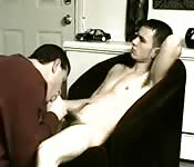 Naughty young dude getting blown by a dirty older man