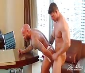 Herculean hunk making love to a tattooed stranger