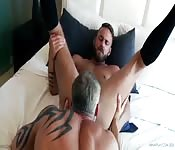 Hot grey-haired stud tongue fucking his younger lover