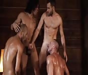 Four muscle hunks in amazing anal fest