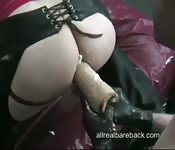 Ass fucked by a giant anal dildo