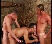 Uninhibited blonde stud having kinky threeway fun