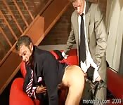 Suited gent getting nailed in the ass