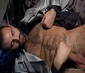 Hairy chested god in solo wanking
