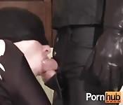 Guys dressed on black have sex