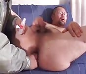 Chubby Asian loves anal