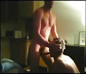 Big strong stud enjoying oral sex