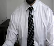 Beard man in suit so horny and jerks on cam