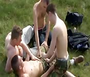 Four twinks in hot camping trip