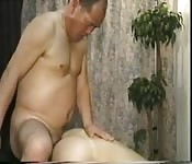 Fat mature Asian stud drilling his lover in the ass