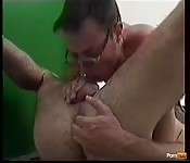 Dirty gay man playing with his boyfriend's ass