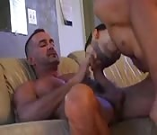 Hot older gent getting sucked by his dishy young lover