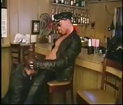 Wild leather-clad stud enjoying an awesome orgy
