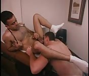 Office cleaning leads to hot gay action