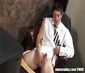 Horny fellow's solo office workout
