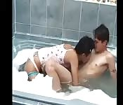 Sexy Asian bubble bath