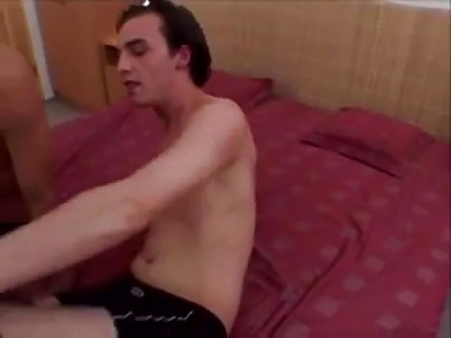 Sexy hunk on her knees sucking dick