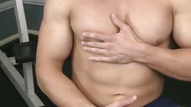 Yummy muscular hunk playing his knob