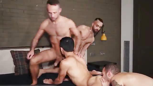 Three penises 1 bottom bunch sex
