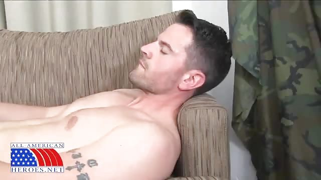 Handsome guy jerking off alone