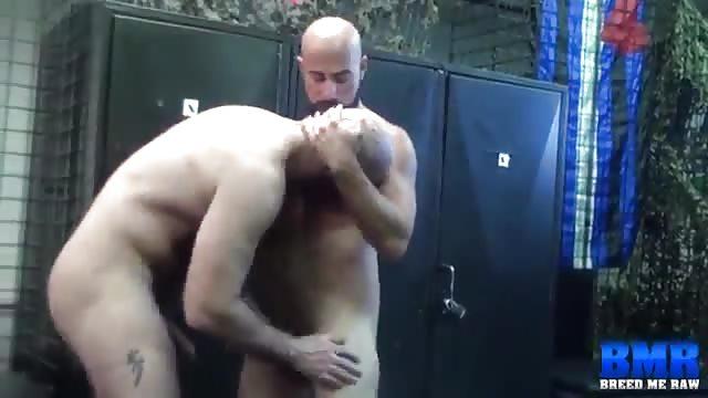 Tattooed hunks ass licking in the locker room